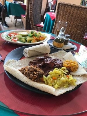 Injera with goat stew
